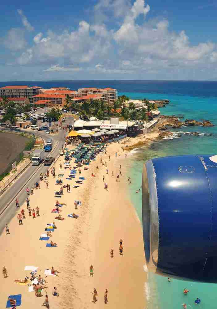 Maho Beach from the air in happier times. (Image by Alberto Riva / The Points Guy)