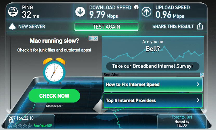 AC lounge speed test