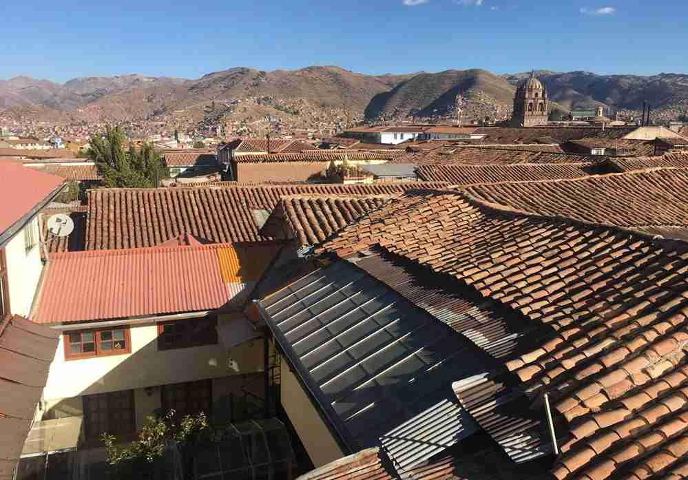 A view from the rooftop breakfast terrace at the guesthouse Casa Munaycha in Cusco, Peru. Image by Lori Zaino.
