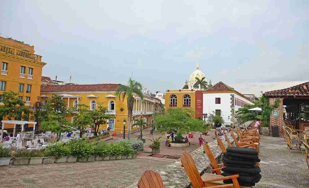 One of the free tours in Cartagena can be found in Plaza Santa Teresa. Image by Lori Zaino.