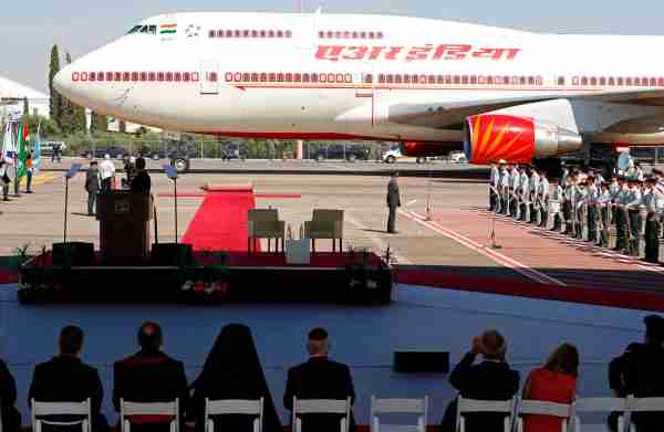 The Air India 747 transporting Indian Prime Minister Narendra Modi arrives at Ben-Gurion International airport near Tel Aviv on July 4, 2017. (Photo by Jack Guez/AFP/Getty Images)