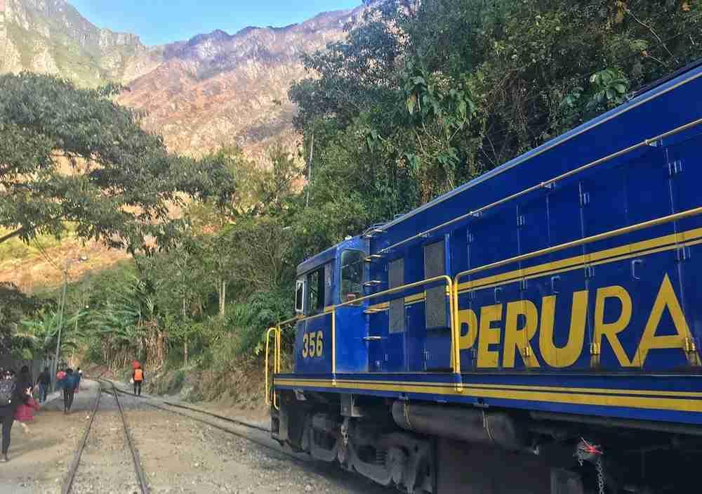 Walk alongside the train tracks for a few hours to get to Machu Picchu.