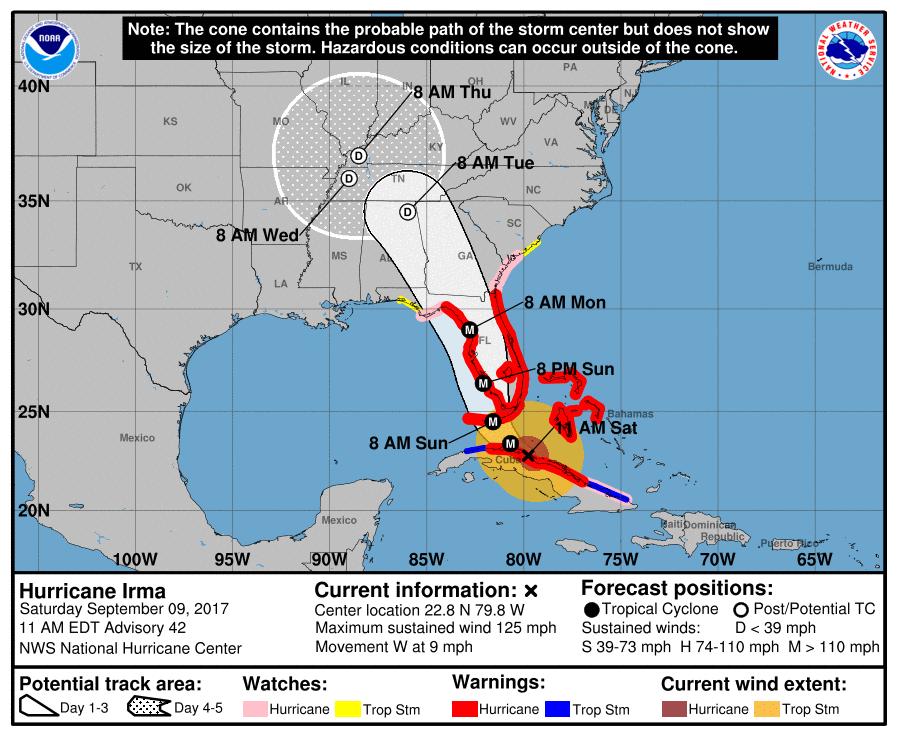 Irma forecast cone 11am 9-9-2017
