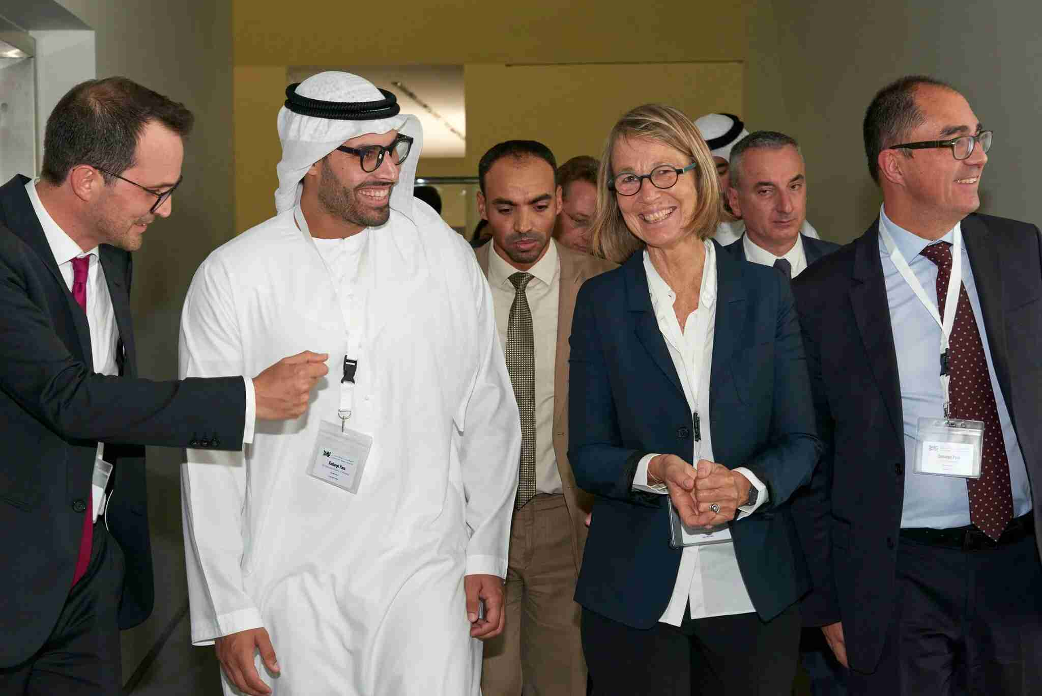 His Excellency Mohamed Khalifa Al Mubarak, Chairman of Abu Dhabi Tourism and Culture Authority, with Françoise Nyssen, France