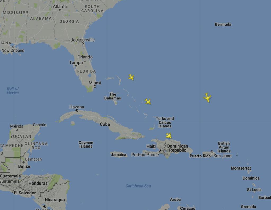 Flights to/from SJU on September 22 15:00 UTC. Image captured on FlightRadar24.
