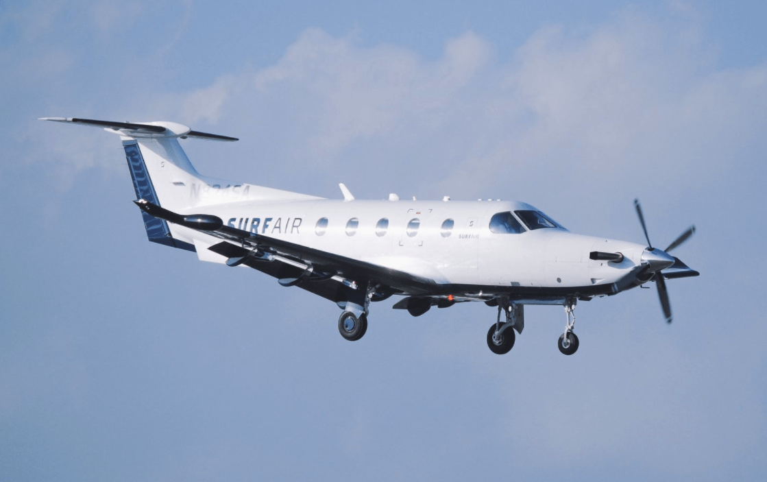 A Surfair Pilatus PC-12 landing at Burbank (Photo by Surfair)