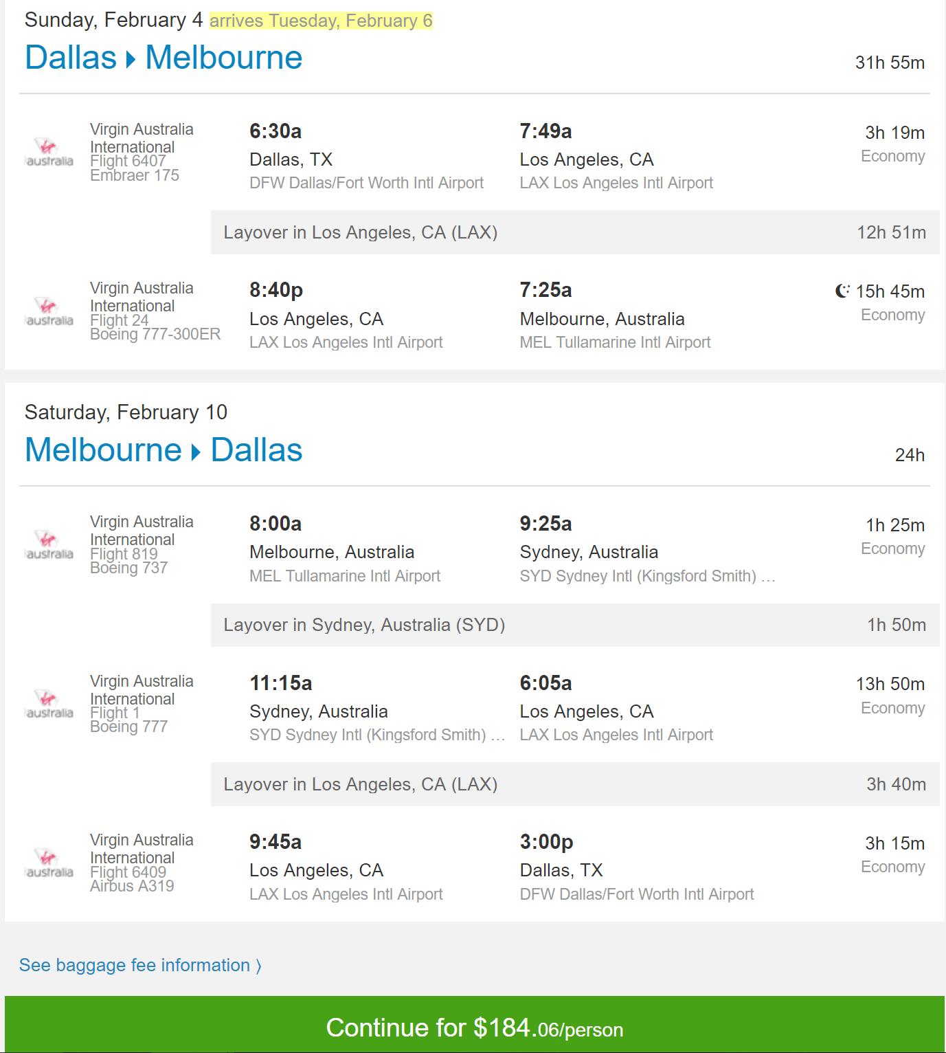 DFW-MEL Feb $184
