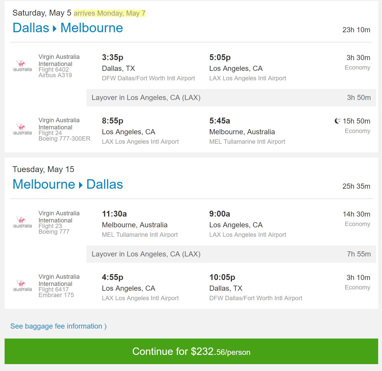 DFW-MEL May $233