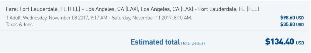 FLL-LAX JetBlue $134 rt