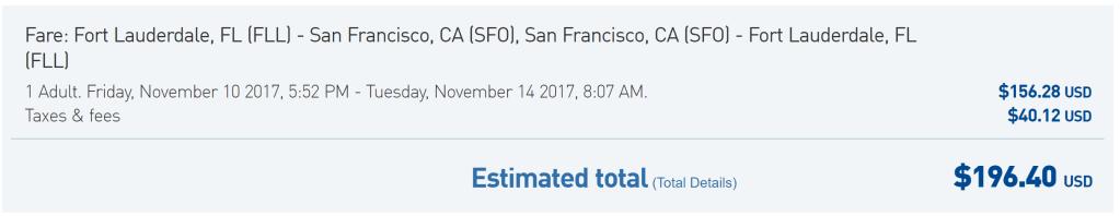 FLL-SFO JetBlue $196 rt