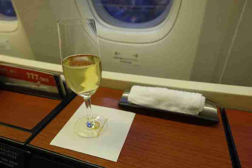 JAL first class pre flight champagne