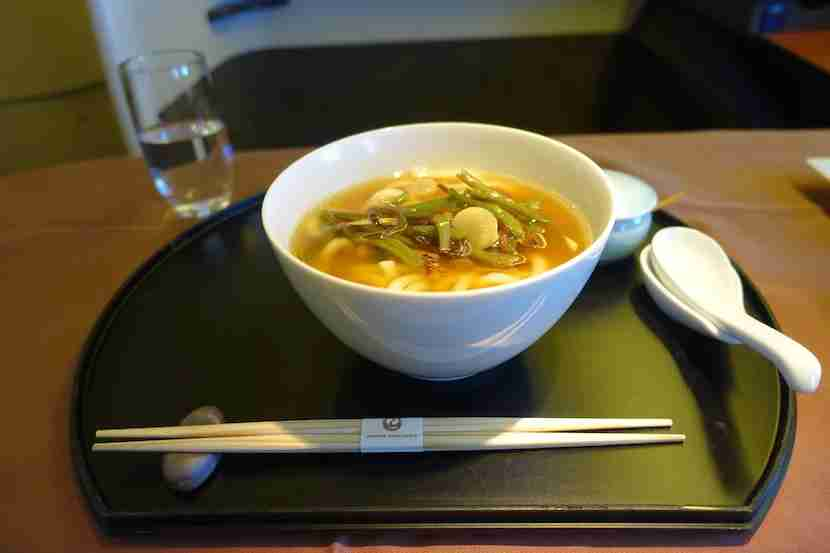 JAL first class udon