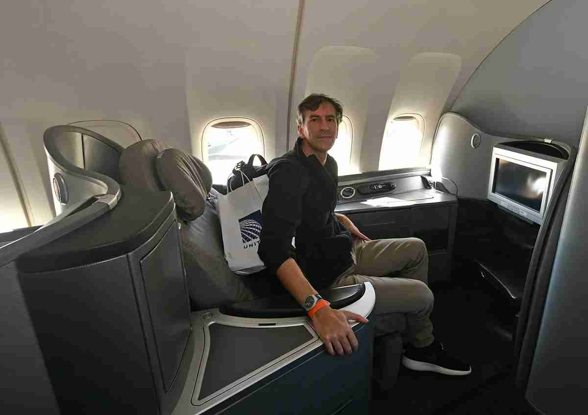 Seat 1A, in first class. Photo by Emily McNutt / The Points Guy
