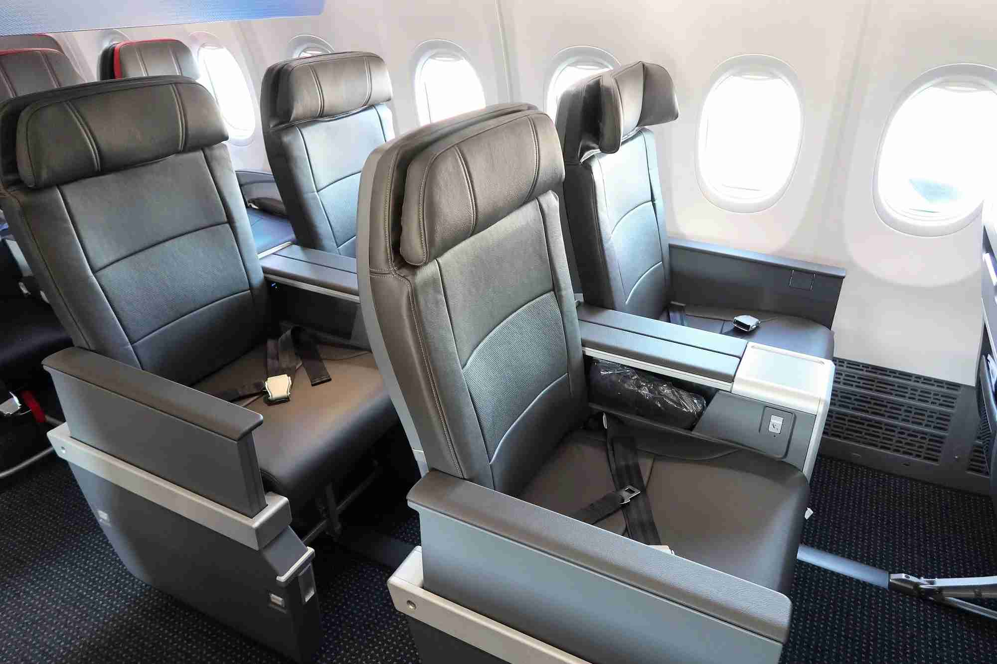 Photo of domestic first class on American Airlines 737 MAX by JT Genter / The Points Guy.