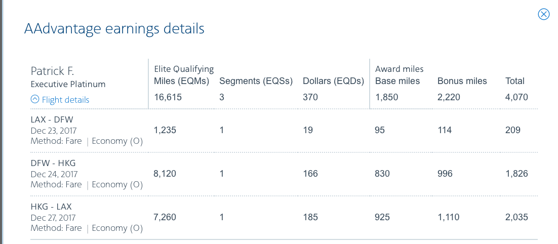 This fare would have earned a ton of EQMs - but only 370 EQDs (plus being away for Christmas)
