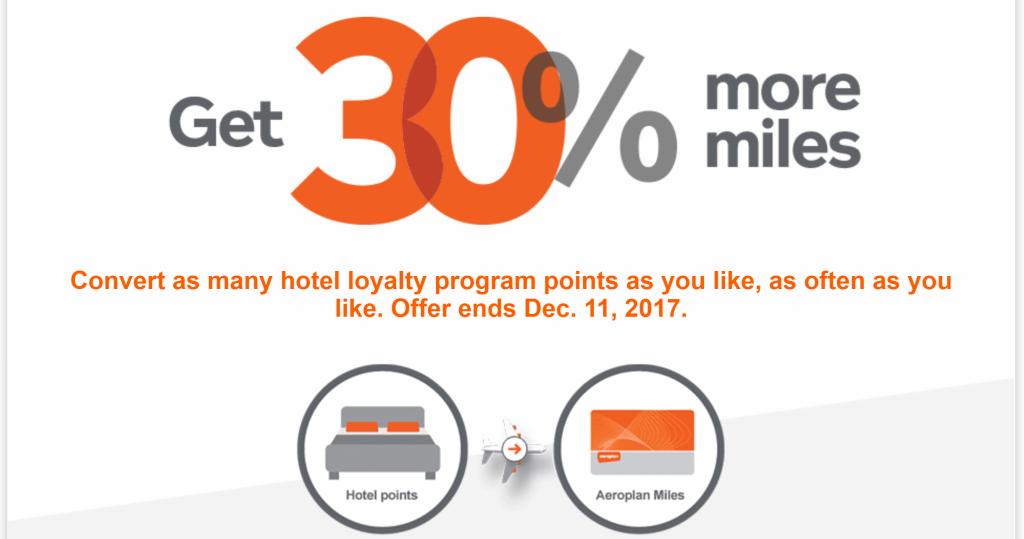 Aeroplan fall 2017 hotel transfer bonus