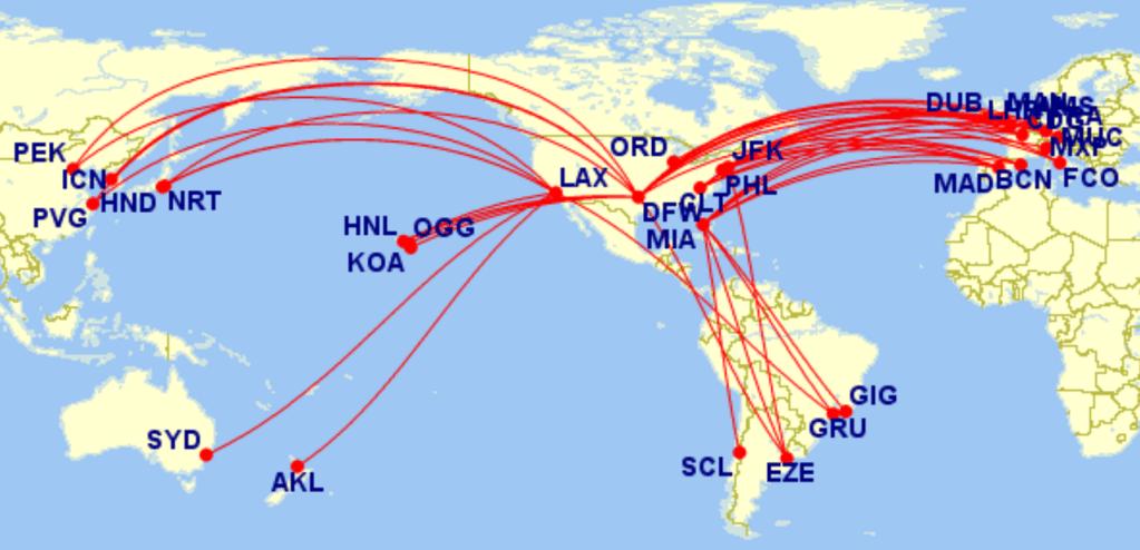 American Airlines Premium Economy routes