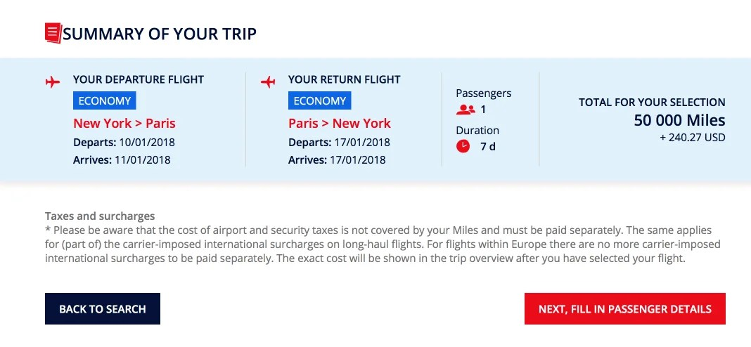 This is what it costs to spend 50,000 of your precious miles to fly to Paris in economy.