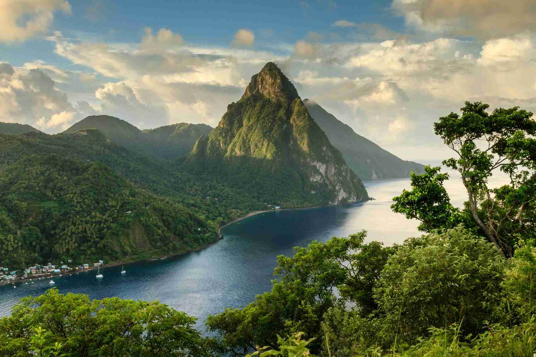 The Pitons on St. Lucia. Image by Paul Baggaley / Getty Images.