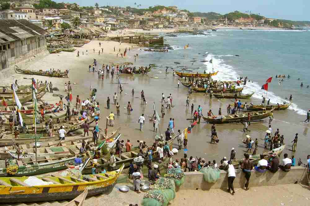 Fishing boats in Ghana. Image by Ulrich Hollmann / Getty.