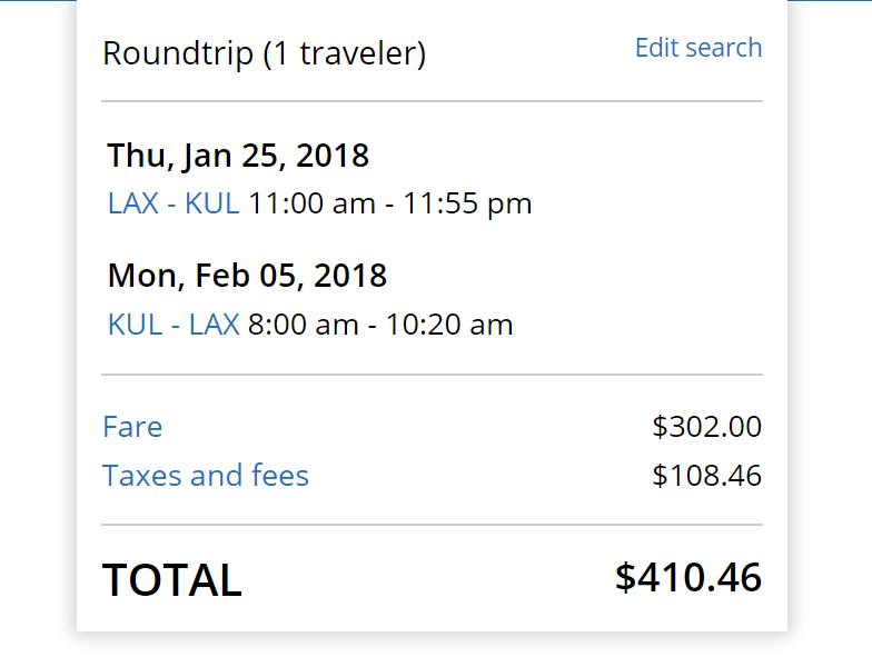 LAX-KUL $410 United