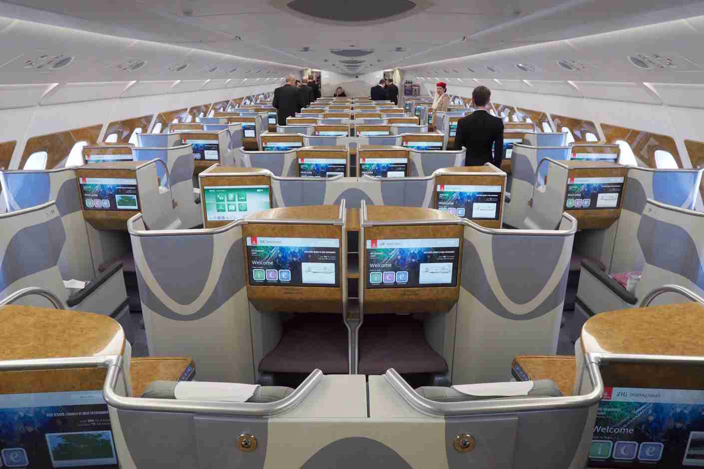 Business class in 1-2-1 layout on the upper deck of an Emirates A380. Photo by Zach Honig / The Points Guy