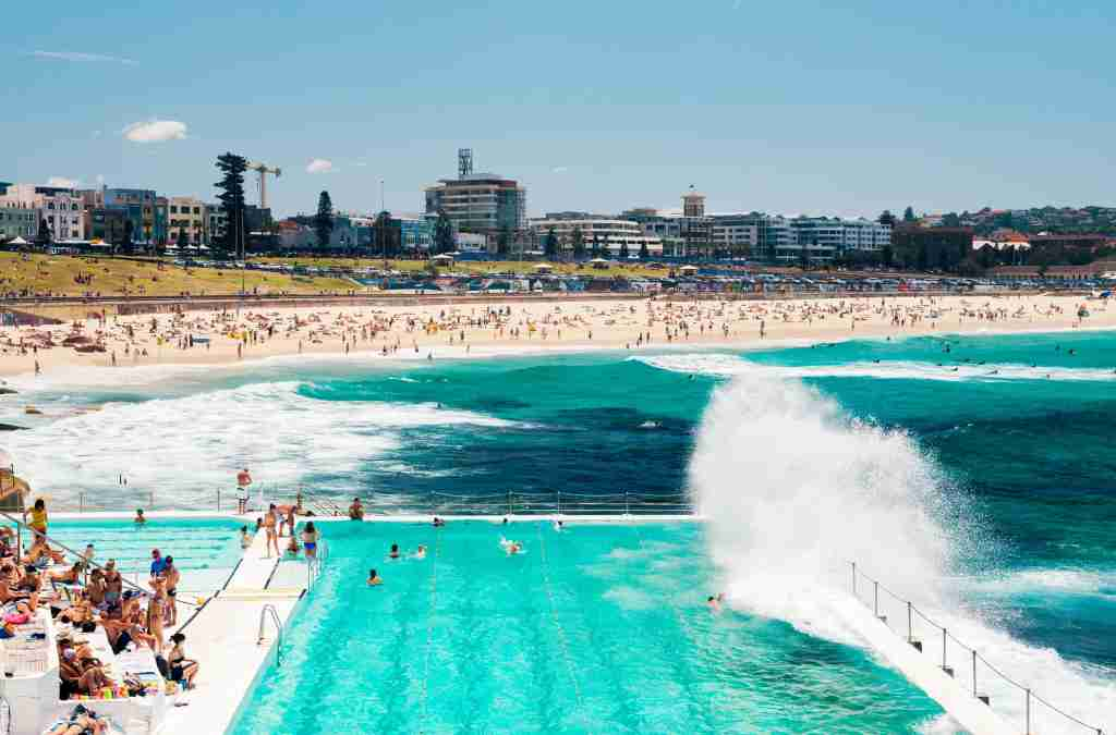 Historic Bondi Icebergs Pool with the famous Bondi Beach in the background. Photo by Christopher Groenhout / Getty Images