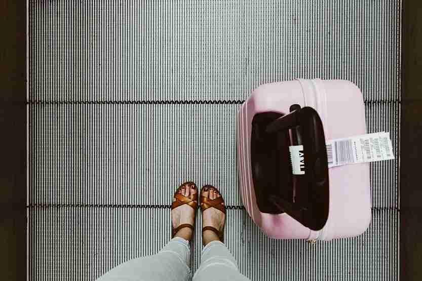 suitcase, hardshell, feet