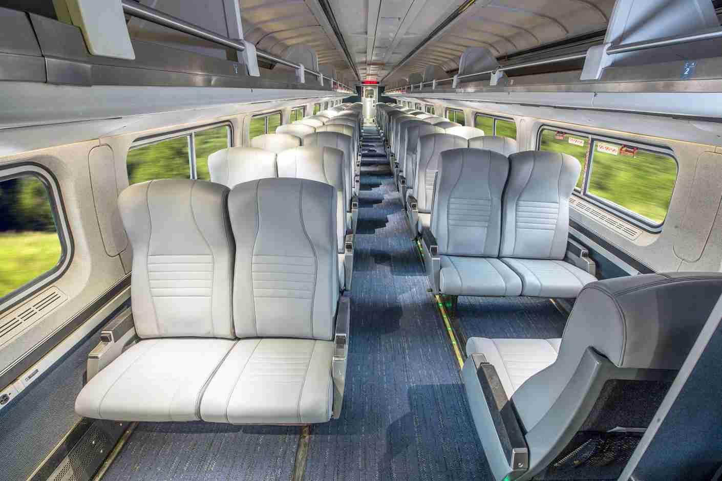 A refurbished coach car (Photo courtesy of Amtrak)