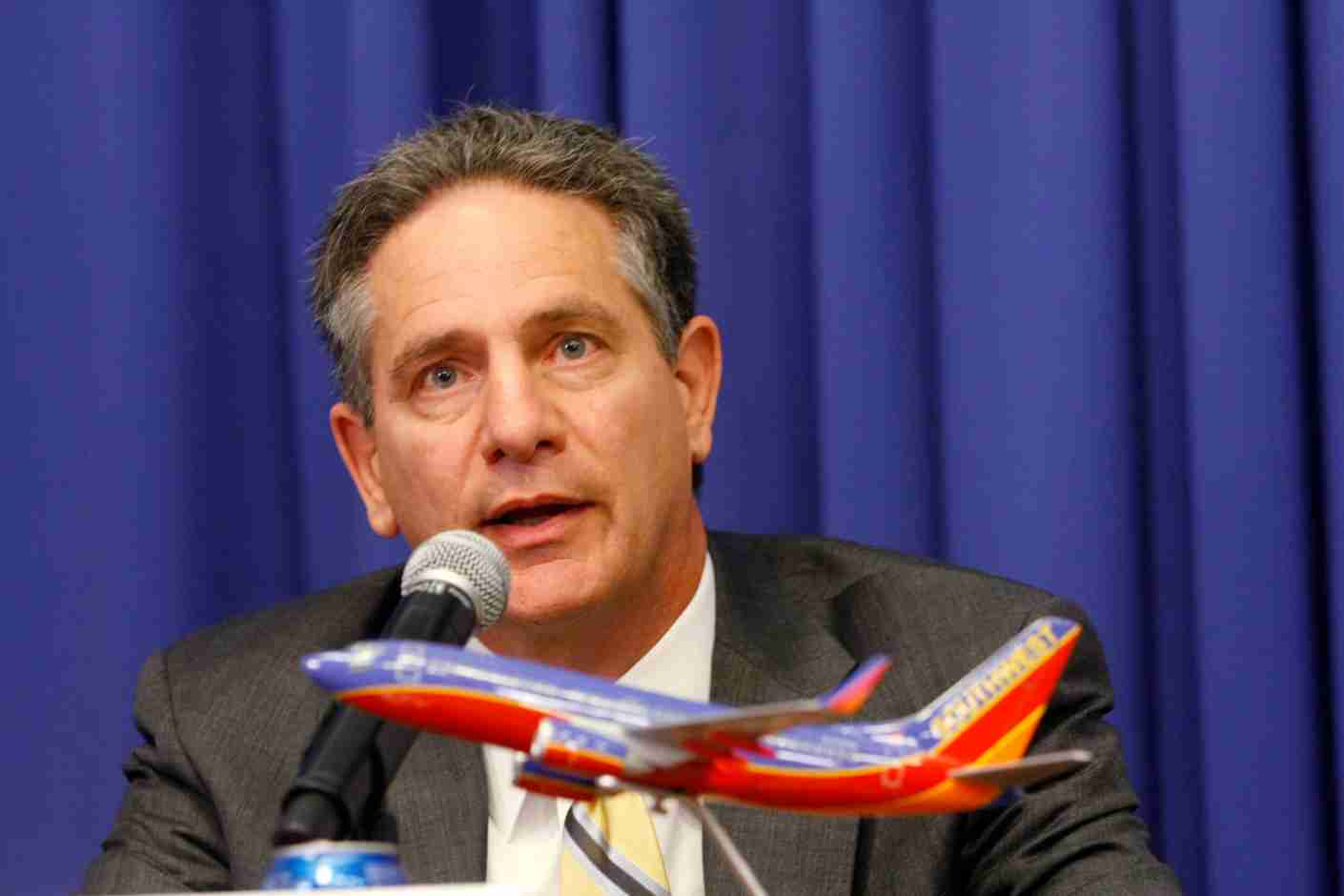 AirTran Chairman, President & CEO Robert L. Fornaro gives a press conference about Southwest Airlines