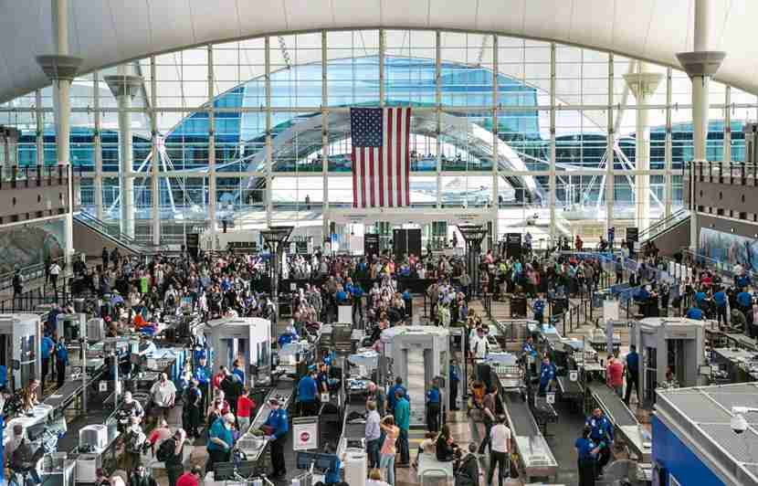 DENVER, CO - APRIL 12: TSA security lines in the main terminal are crowded with spring break travelers on April 12, 2017, in Denver, Colorado. Located 25 miles from downtown, Denver International Airport, a United Airlines hub, has become one the largest airport in the United States. (Photo by George Rose/Getty Images)