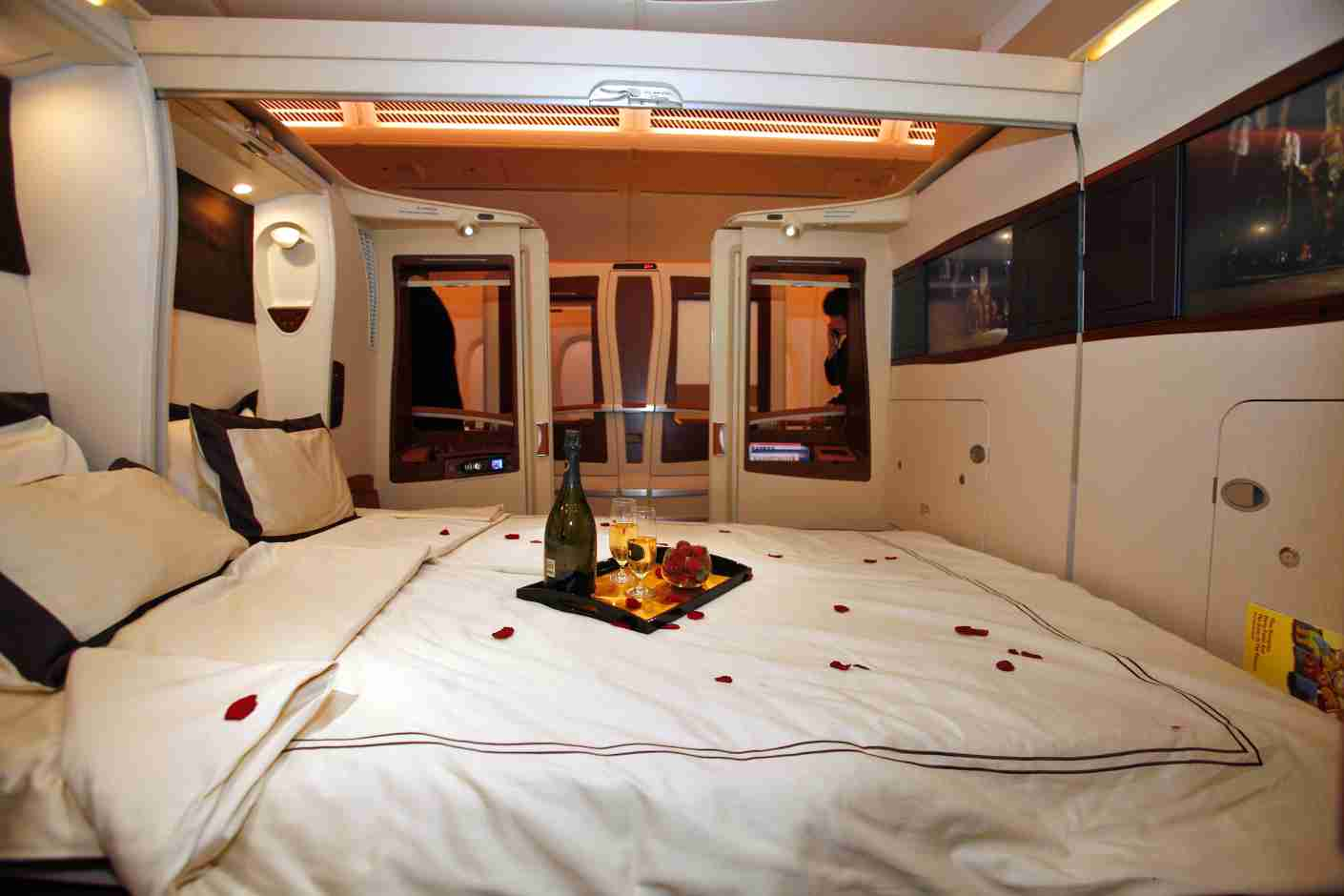 TOULOUSE, FRANCE - OCTOBER 15: A general view of inside the first class twin cabin section of the new Singapre Airlines Airbus A380 on October 15, 2007 in Toulouse, France. The first A380, the world