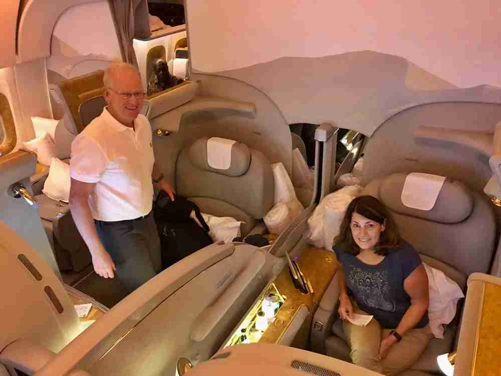 My parents on the Emirates A380 in first class.