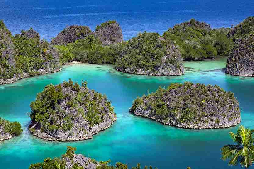 Limestone islets and tropical lagoon in the Raja Ampat islands, West Papua. Photo by pkphotoscom / Getty Images