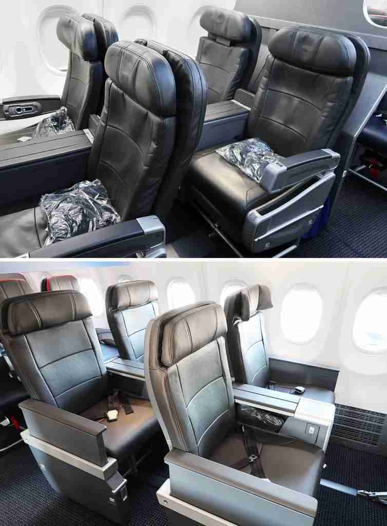 AA 737-800 first class seat compared with AA 737 MAX first class seat.