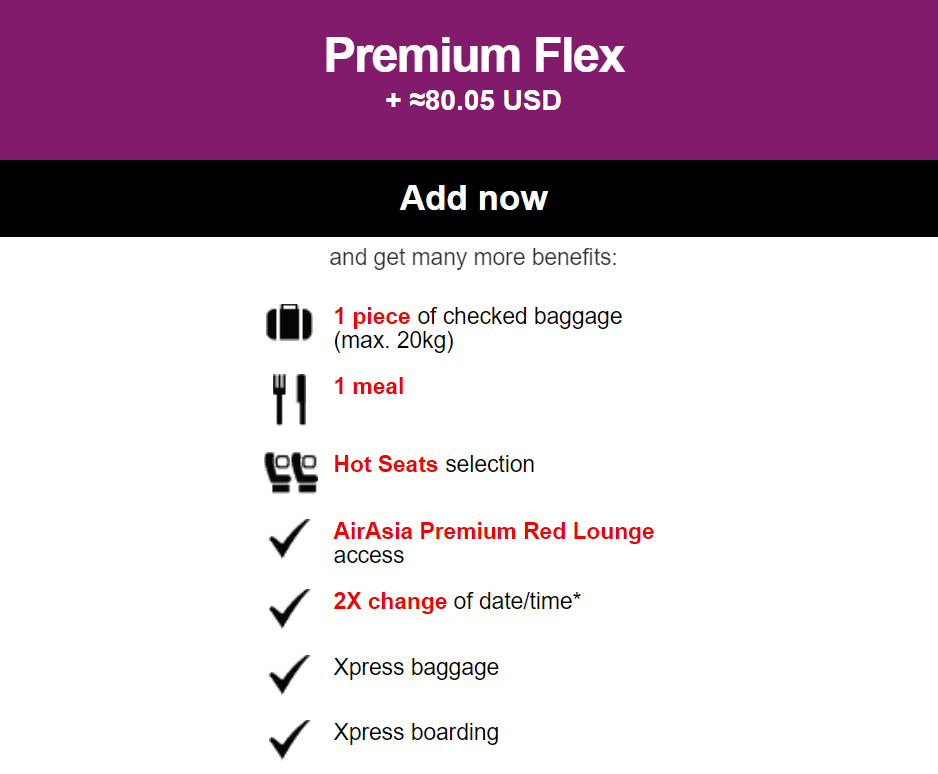 Several premium options such as Premium Flex were made available during the booking process.