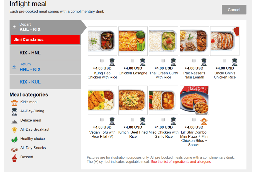 Purchasing meals during the booking process is the most economical way to go.