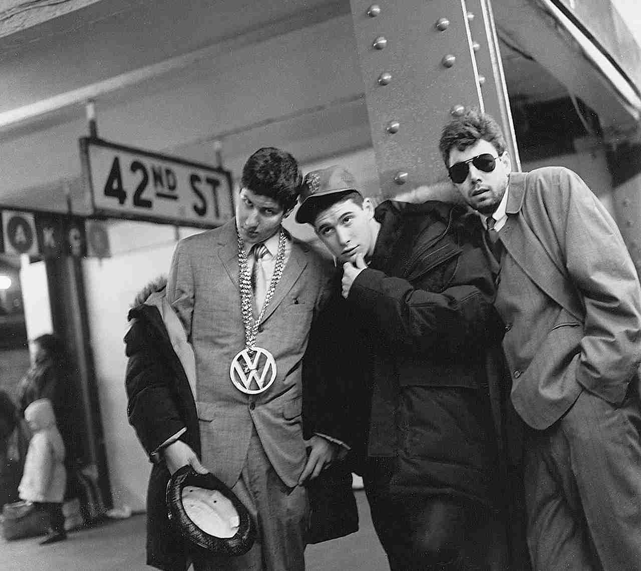 Portrait of the Beastie Boys at the West 42th street/Times Square subway station. (Photo by Michel Delsol/Getty Images)