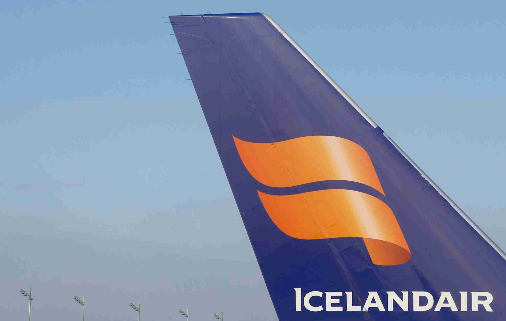 The tail of a Boeing 757 airplane shows the Icelandair logo at the Munich airport in Germany on Nov. 13, 2012. (Photo by Alexander Klein, AFP/Getty Images)