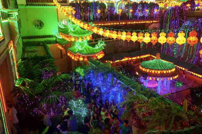 Chinese Malaysians and tourists visit Kek Lok Si temple in Georgetown, Penang, Malaysia, during the Chinese Spring Festival after the beginning of the Chinese New Year. The temple is decorated with thousands of Chinese lanterns which represent donations from the devotees. (Georgetown, Feb 11) (Photo by Alexandra Radu/NurPhoto) (Photo by NurPhoto/NurPhoto via Getty Images)