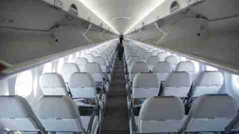 plane, aisle, air baltic, cabin, bombardier cs300