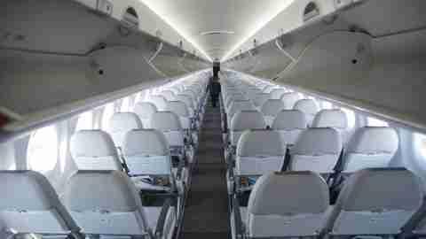 plane, aisle, air baltic, cabin, bombardier cs300