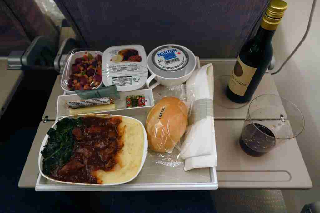 Dinner in economy class on the Emirates A380 between New York (JFK) and Milan, Italy (MXP).