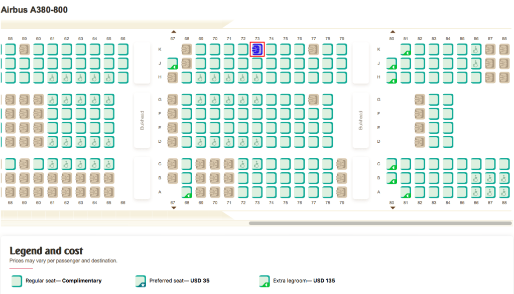 Seat map in economy class on the Emirates A380 between New York (JFK) and Milan, Italy (MXP).