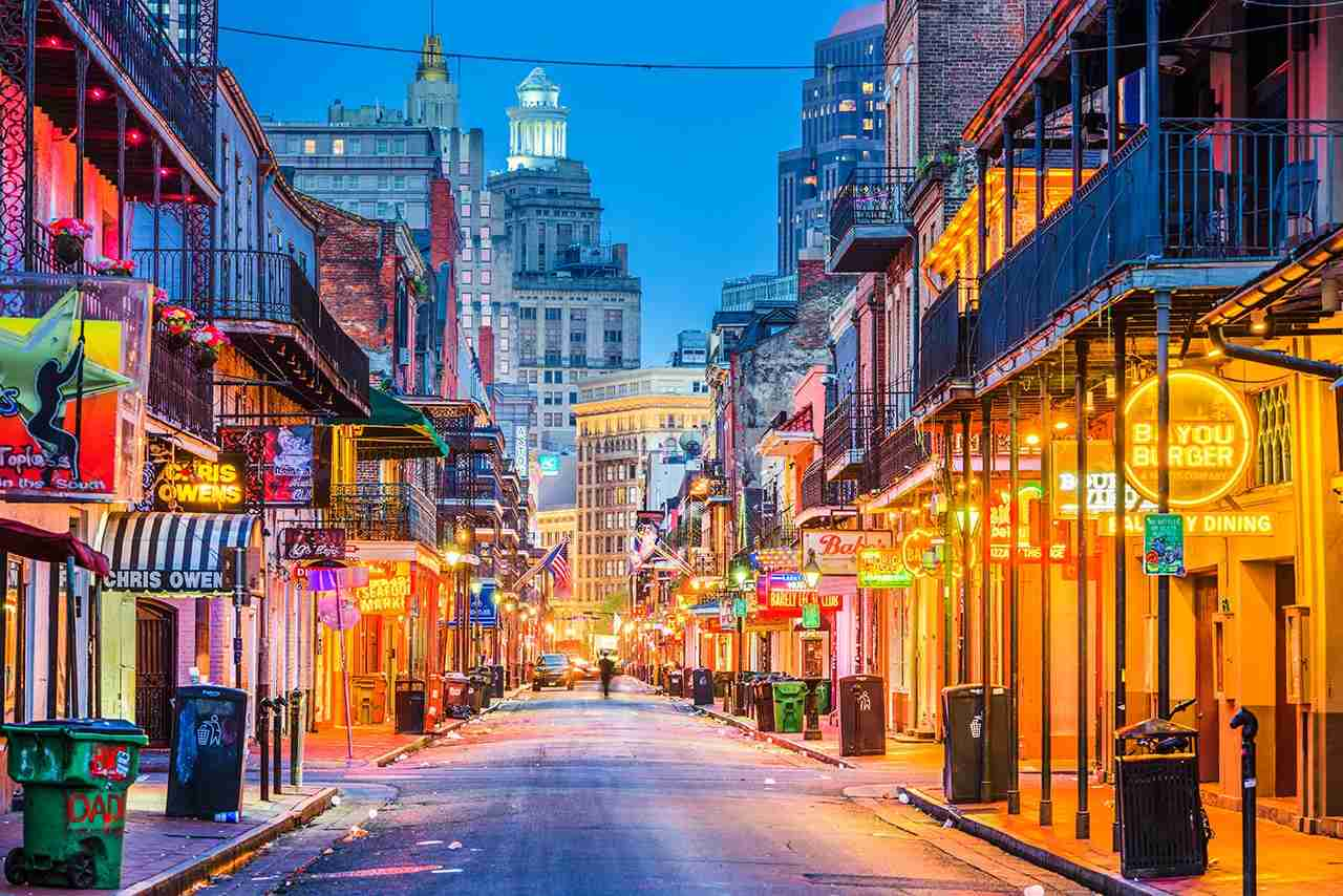 Bourbon Street in the early morning. The renown nightlife destination is in the heart of the French Quarter. (Photo by Sean Pavone/Shutterstock)
