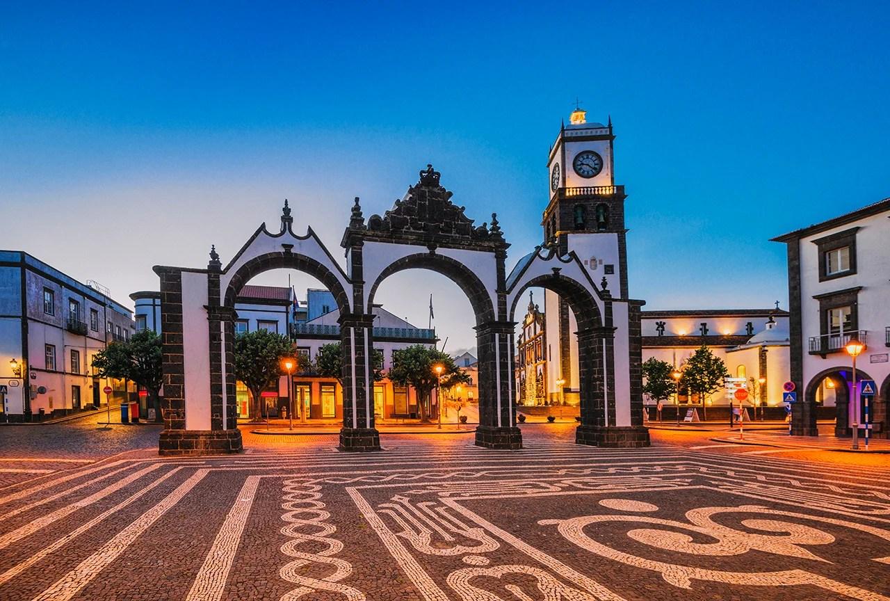 Portas da Cidade in Ponta Delgada at dusk (Azores). (Photo by sack/Getty Images)