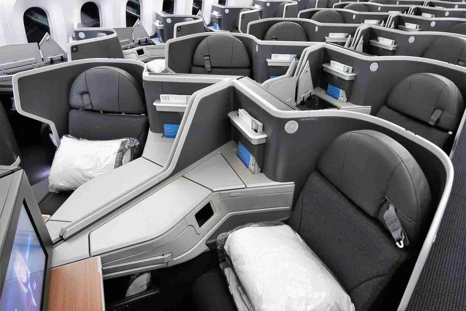The business-class cabin on AA