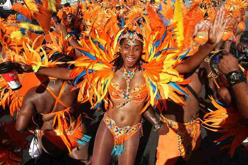 PORT OF SPAIN, TRINIDAD - FEBRUARY 17: Masqueraders from the band