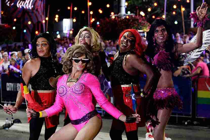 SYDNEY, AUSTRALIA - MARCH 07: Parade goers make their way along Oxford Street during the 2015 Sydney Gay & Lesbian Mardi Gras Parade on March 7, 2015 in Sydney, Australia. The Sydney Mardi Gras parade began in 1978 as a march and commemoration of the 1969 Stonewall Riots of New York. It is an annual event promoting awareness of gay, lesbian, bisexual and transgender issues and themes. (Photo by Lisa Maree Williams/Getty Images)