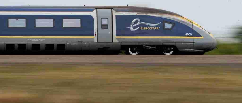 A Eurostar e320 train, the latest train the Eurostar fleet, passes through Ashford, Kent. (Photo by Gareth Fuller/PA Images via Getty Images)